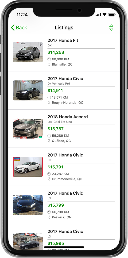 Image of Carpages.ca app on iOS device.