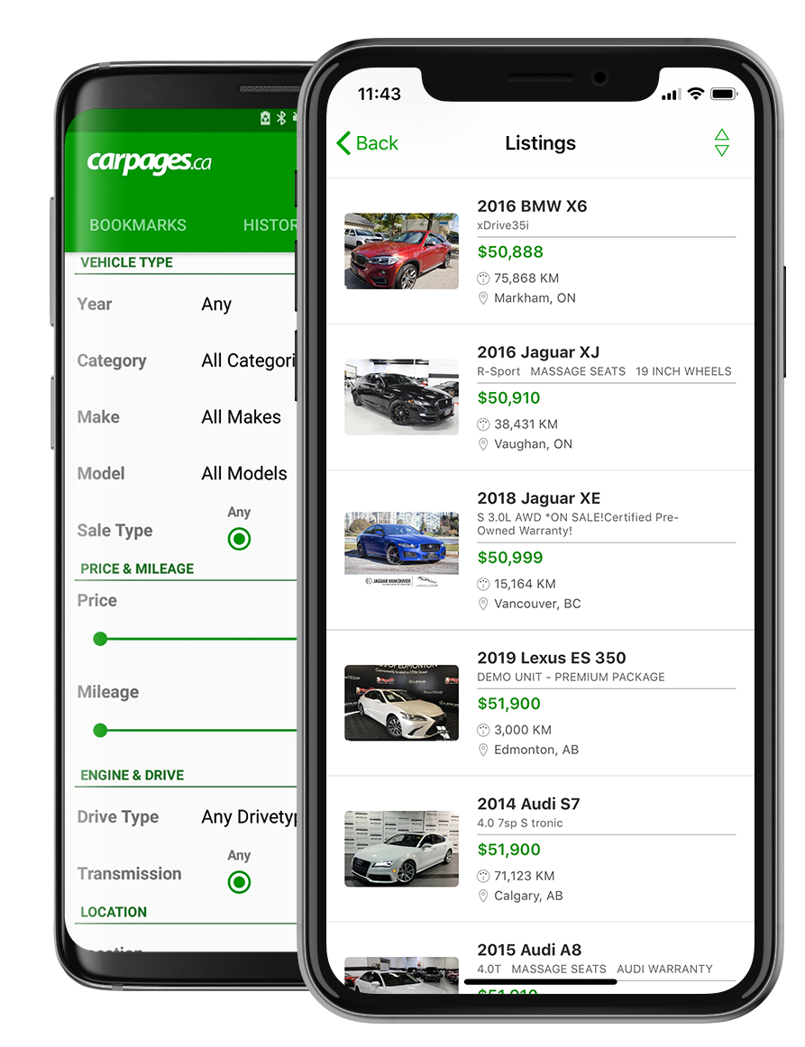 Image of Carpages.ca app on iOS and Android devices.